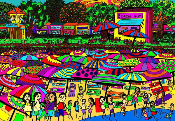 Wall Art - Painting - Crowded Beach 2 by Karen Elzinga