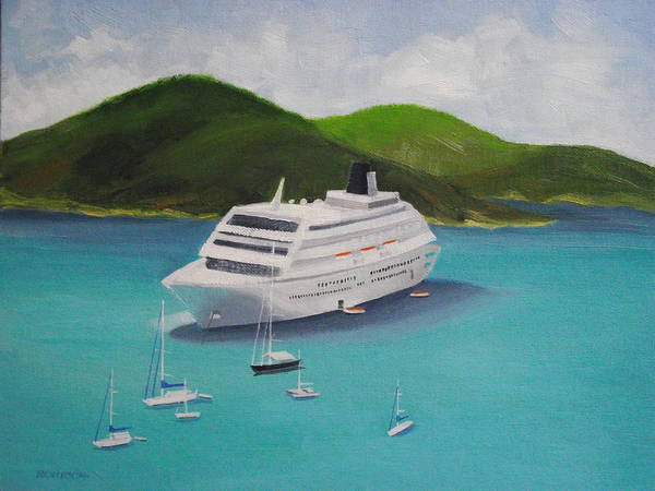 Us Virgin Islands Painting - Cruise Ship Off Charlotte Amalie by Robert Rohrich