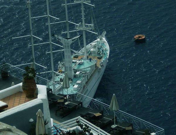 Photograph - Cruiser In Santorini Island by Colette V Hera  Guggenheim