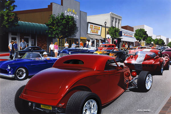 Car Show Photograph - Cruising Main Street by MGL Meiklejohn Graphics Licensing