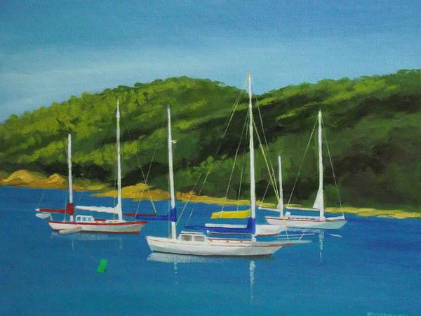 Us Virgin Islands Painting - Cruze Bay Mooring  St. John by Robert Rohrich