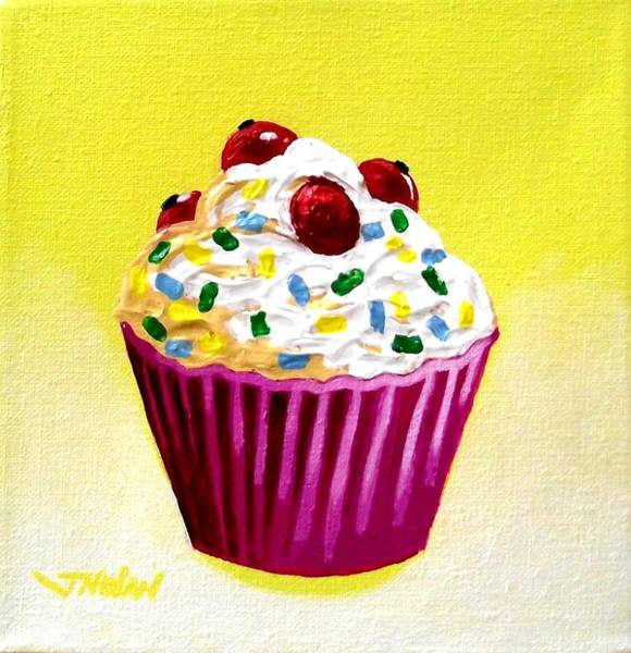 Icing Painting - Cupcake With Cherries by John  Nolan