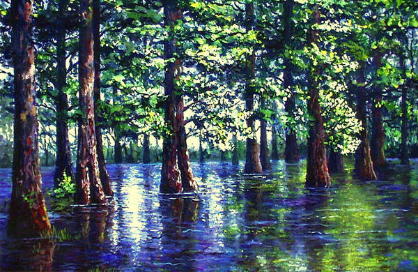 Wall Art - Painting - Cyprus Swamp by Lou Ann Bagnall