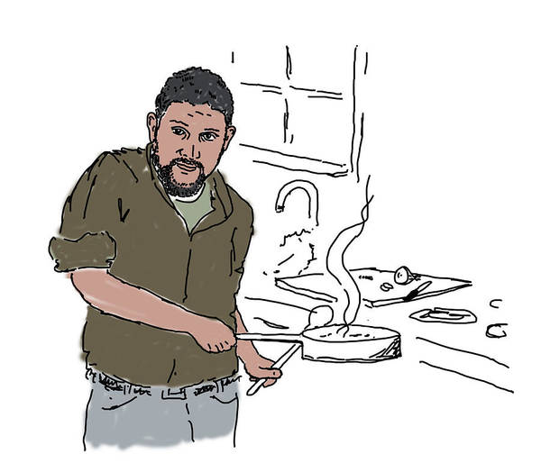 Drawing - Dad Cooking by Daniel Reed