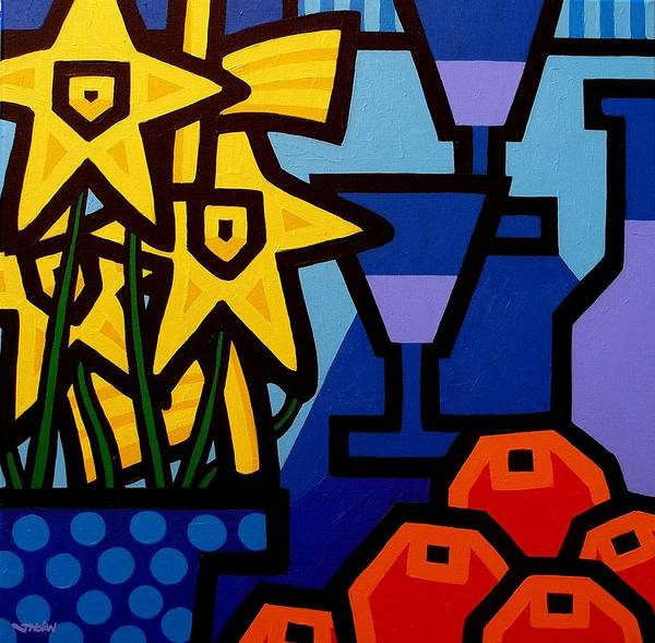 Wall Art - Painting - Daffodils Oranges And Wine  by John  Nolan