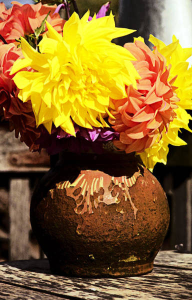 Photograph - Dahlias In Old Vase by Emanuel Tanjala