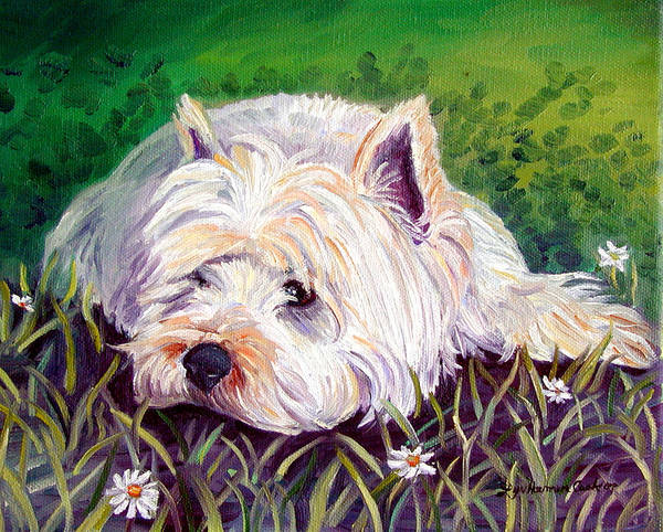 West Highland Painting - Daisies - West Highland White Terrier by Lyn Cook