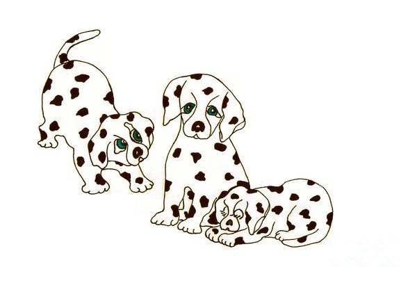 Drawing - Dalmatian Puppies by Rachel Lowry