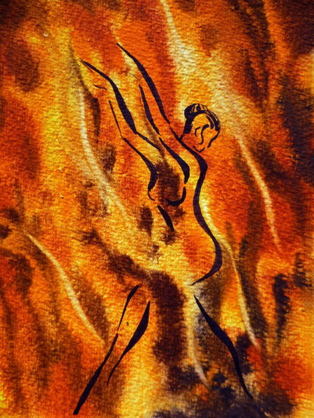 Fire Dance Wall Art - Painting - Dancing Fire Viii by Irina Sztukowski