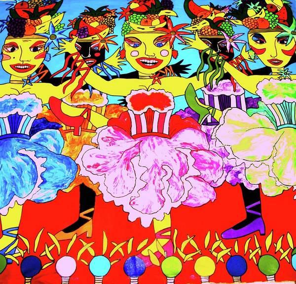 Wall Art - Painting - Dancing Girls by Karen Elzinga