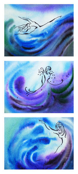 Design Painting - Dancing Water V by Irina Sztukowski