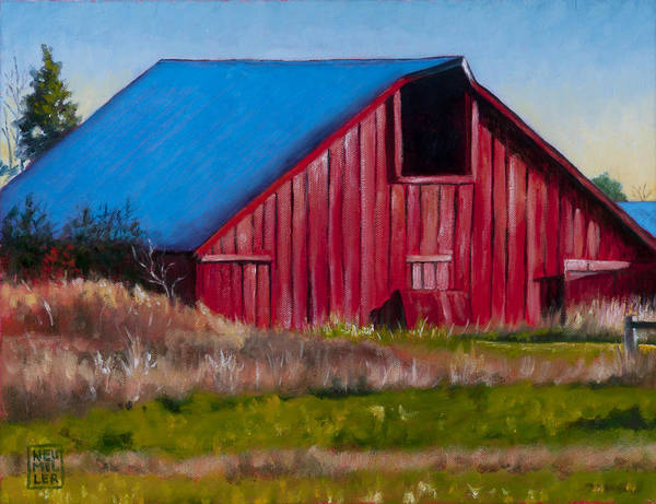 Wall Art - Painting - Darst Barn On West Beach Road by Stacey Neumiller