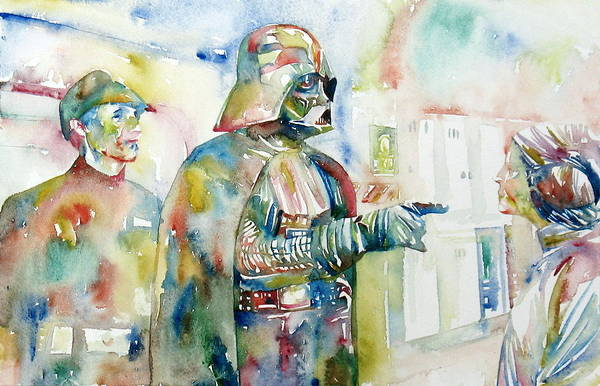 Psychedelic Image Painting - Darth Vader And Princess Leia Portrait by Fabrizio Cassetta