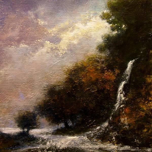 Wall Art - Painting - Daybreak Falls by Jim Gola