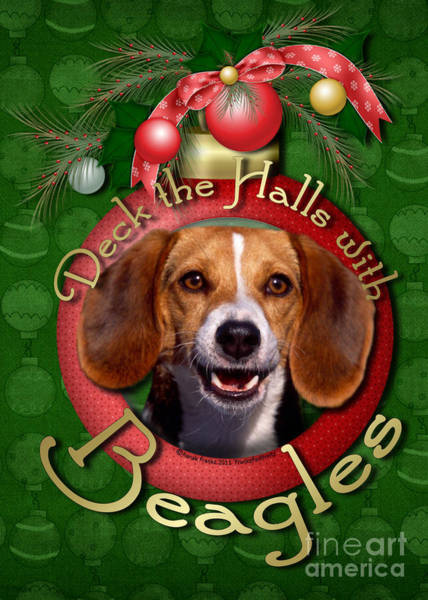 Deck Digital Art - Deck The Halls With Beagles by Renae Crevalle