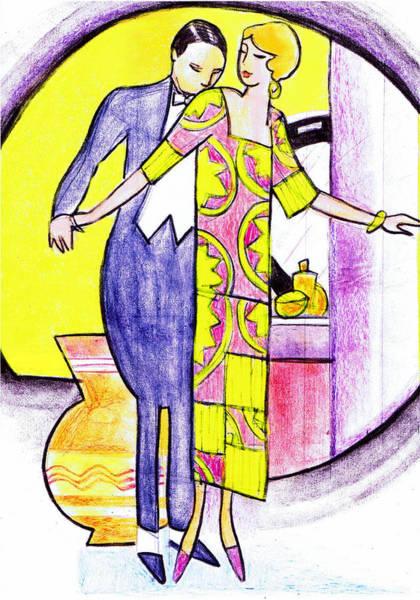 Nostalgia Drawing - Deco Couple With Vase by Mel Thompson