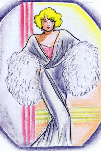 Nostalgia Drawing - Deco Gown With Feathers by Mel Thompson