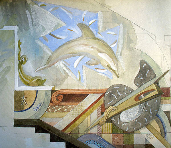 Wall Art - Painting - Decoration Project Dolphin. 1989 by Yuri Yudaev-Racei