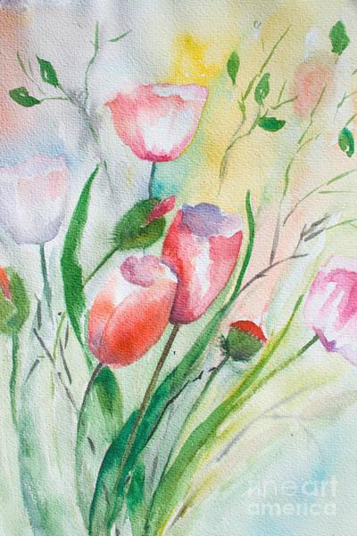 Pistil Painting - Decorative Floral Background by Regina Jershova