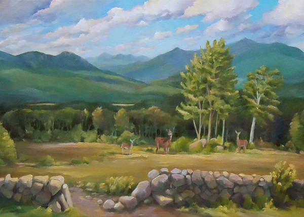 Painting - Deer In White Mountains Two by Nancy Griswold