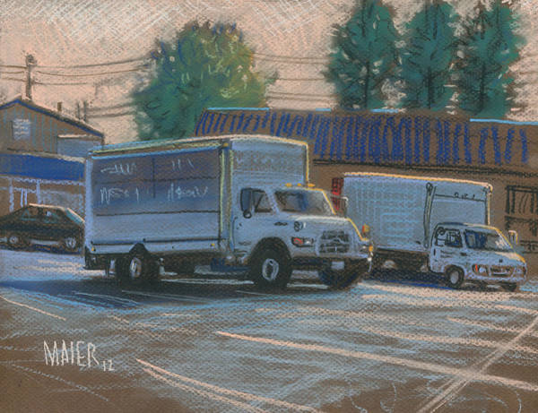 Truck Drawing - Delivery Trucks by Donald Maier