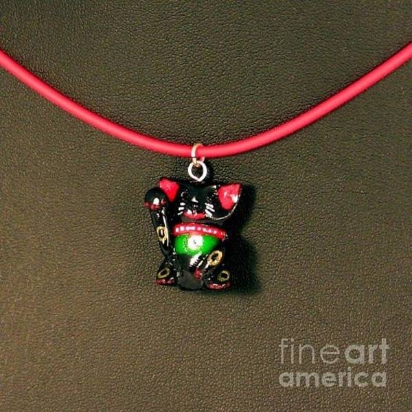 Jewelry - Deluxe Hand Painted Black Maneki Neko Lucky Beckoning Cat Necklace by Pet Serrano