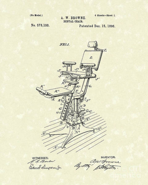 Chair Drawing - Dental Chair 1896 Patent Art by Prior Art Design