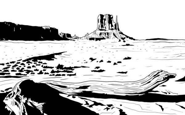 West Texas Wall Art - Drawing - Desert by Giuseppe Cristiano