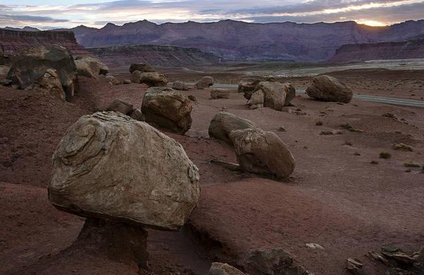 Balancing Rocks Photograph - Desert Sunrise by Dave Dilli