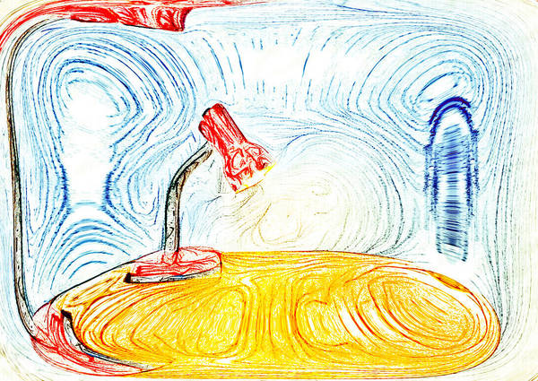 Pencil Sketch Photograph - Desk Lamp by Tom Gowanlock