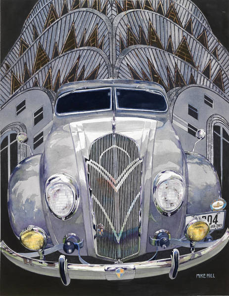 Collector Car Painting - Desoto And Deco Design by Mike Hill