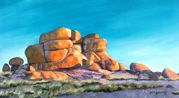 Aborigine Painting - Devil's Marbles by Anne Wheeler