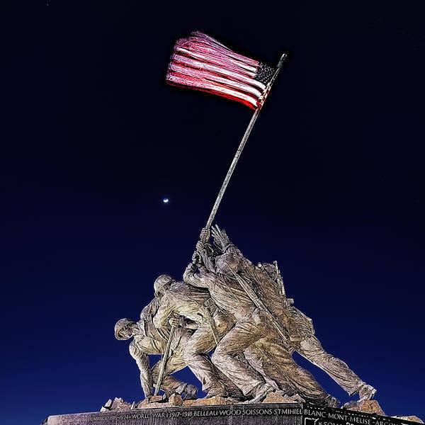 Digital Art - Digital Drawing - Iwo Jima Memorial At Dusk by Metro DC Photography