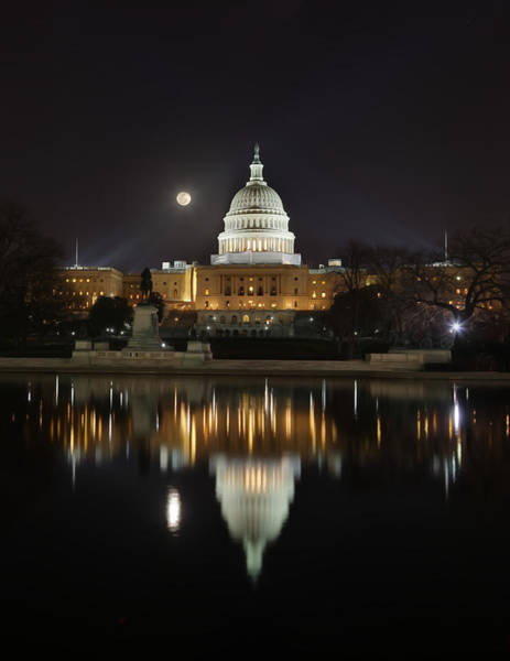 Digital Liquid - Full Moon At The Us Capitol Art Print