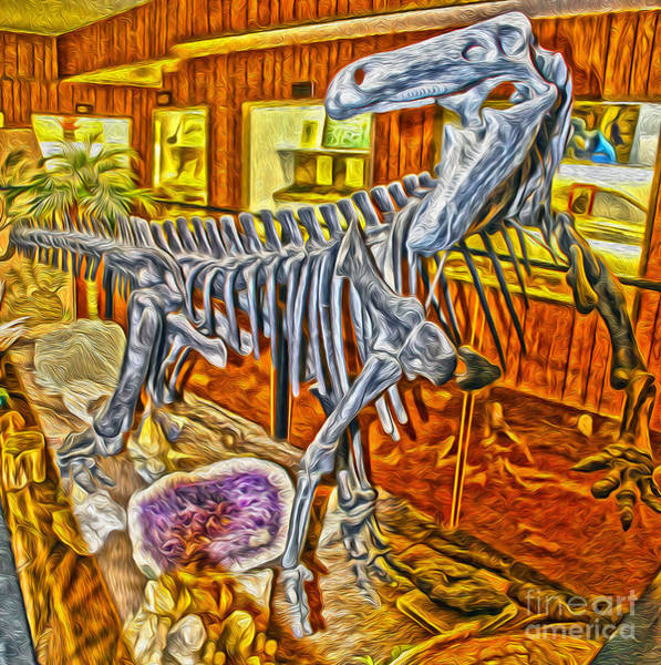 Painting - Dinosaur Skeleton by Gregory Dyer