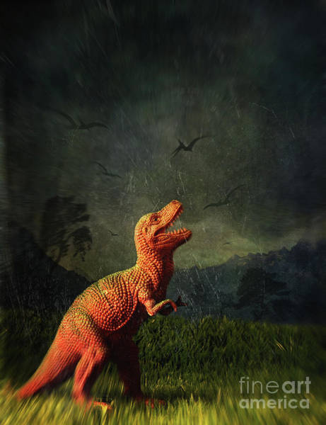 Photograph - Dinosaur Toy Figure In Surreal Landscape by Sandra Cunningham