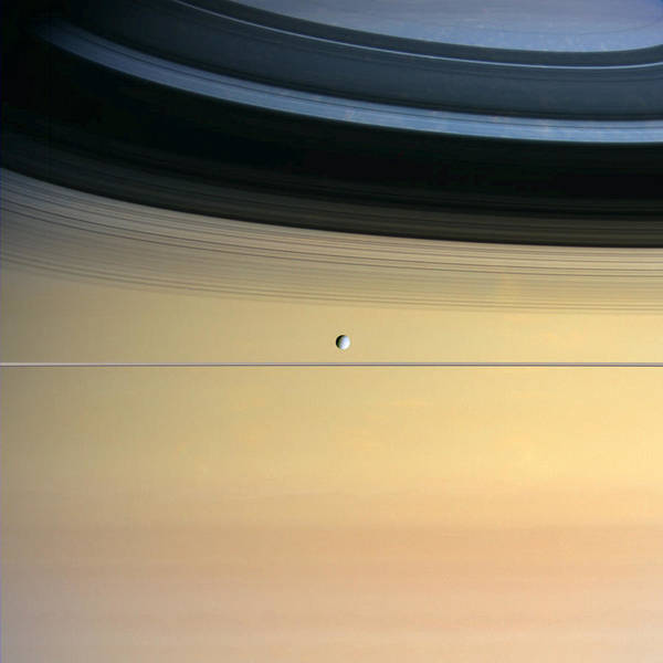 Dione Photograph - Dione And Ring Shadows On Saturn, Cassini by Nasajplspace Science Institute