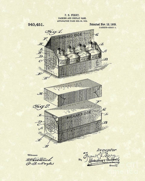 Drawing - Display Case 1909 Patent Art by Prior Art Design