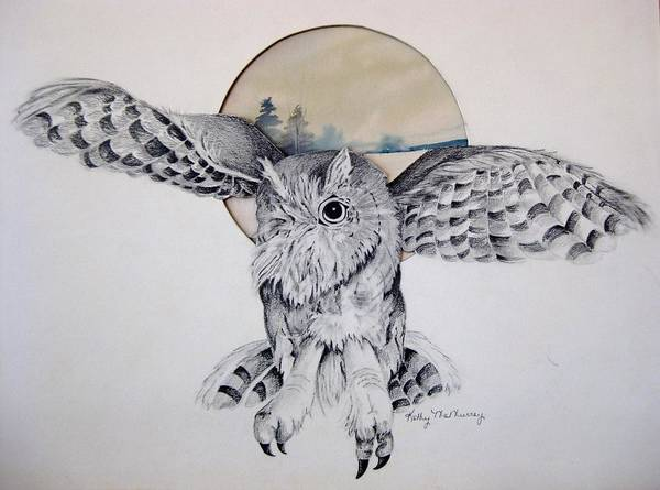 Barn Owl Mixed Media - Distant Trees by Kathrine McMurray