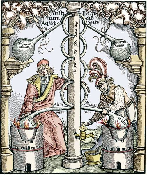 Arte Photograph - Distillation, 16th Century Woodcut by Sheila Terry
