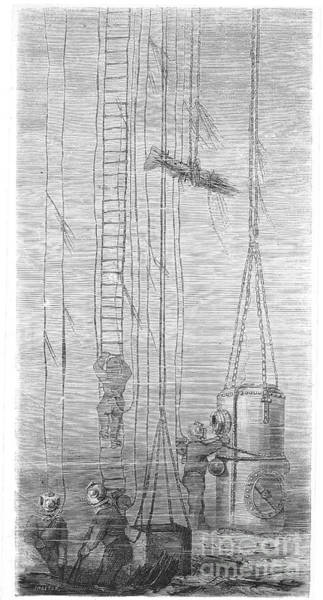Diving Bell Photograph - Divers, 1870 by Granger