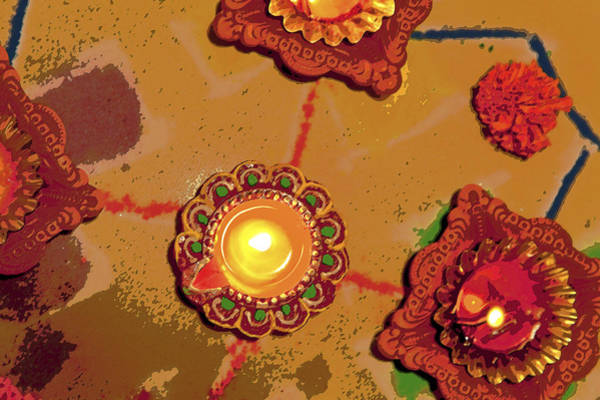 Sketch Holiday Photograph - Diwali Colors By Candle by Kantilal Patel