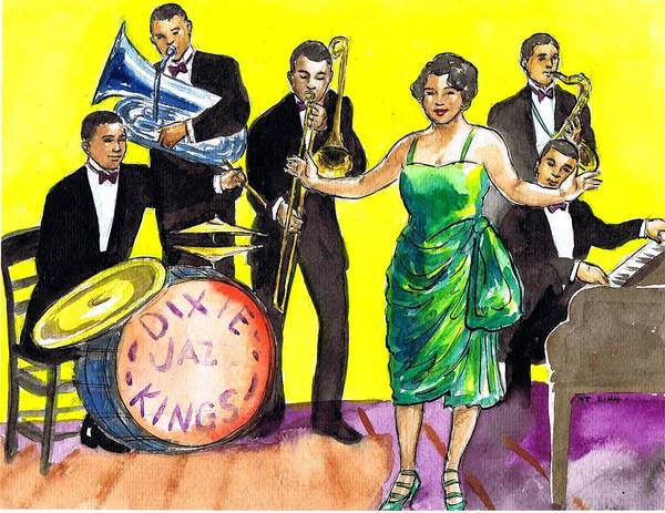 Flappers Drawing - Dixie Jazz Kings by Mel Thompson