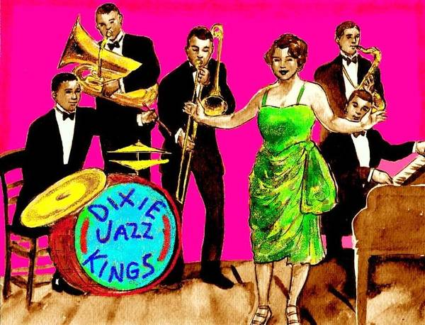 Sax Drawing - Dixie Jazz Kings Pink by Mel Thompson