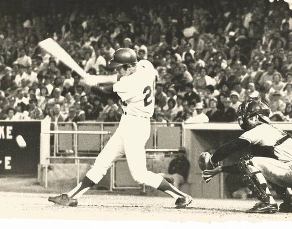 Photograph - Dodger Wes Parker Batting At Dodger Stadium by Jamie Baldwin