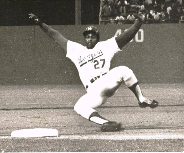 Photograph - Dodger Willie Crawford Sliding Into Third by Jamie Baldwin