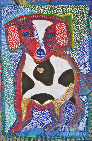 Wall Art - Painting - Dog In Mosaic by Jane Ubell-Meyer
