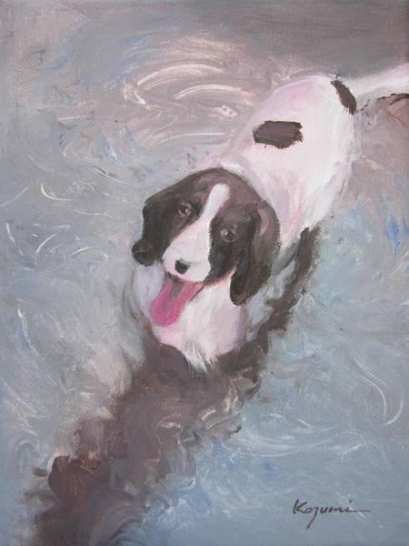 Dog In River Art Print