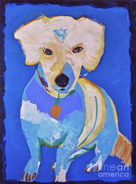 Wall Art - Painting - Dog Sits Still by Jane Ubell-Meyer
