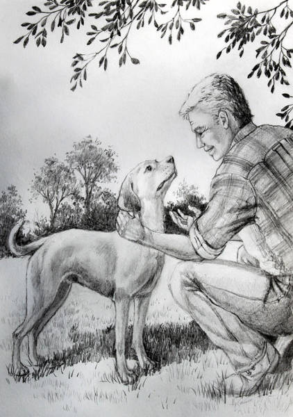 Service Dog Painting - Dog Whisperer by Hanne Lore Koehler